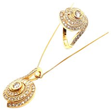 GORGEOUS! Diamond Ring & Necklace w/Matching Diamond Pendant Handcrafted 14K Yellow Gold Round Circular Motion NICE!