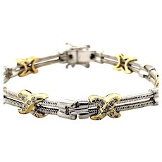 Handcrafted 14k White & Yellow Gold Diamond 0.60ct Fancy Link Bracelet Exquisite! Upscale Piece