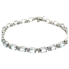 """5ct Aquamarine Tennis Bracelet Set in Handcrafted 14K White Gold Absolutely Exquisite! Measures 7"""""""