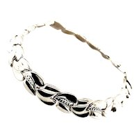 "Gorgeous Handcrafted 14K White Gold Bracelet Measures 8"" Thickness is 11mm Fancy Link Upscale Design"