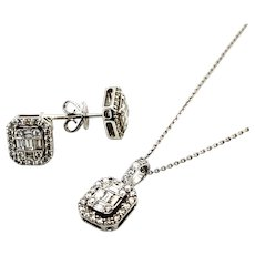 """IGI Certified! Dripping in Diamonds w/This Set! Matching Stud Earrings & Pendant 14k Handcrafted White Gold Necklace 18"""""""