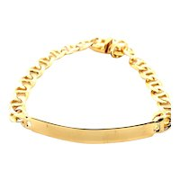 "Men's Flat Mariner Link 7.5mm Handcrafted 14K Gold ID Bracelet Measures 9"" Engrave Personalize No Charge!"