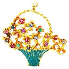 """Beautiful Vintage Solid 14k Gold Floral Gemstone Brooch Pendant Gorgeous Colors Unique Upscale Piece Measures 1.5"""""""