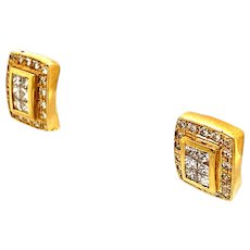 "EGL Certified Square Shape 1.29ct Diamond Stud Earrings Set in Handcrafted 14k Yellow Gold Measure .5"" GORGEOUS!"
