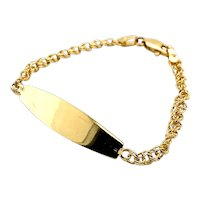 "Beautiful Fancy Circle Link ID Bracelet Handcrafted 14k Yellow Gold 4mm Measures 6.5"" Engrave Personalize At No Addt'l Fee!"