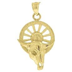 Men's Handcrafted 10k Yellow Gold Taurus Cow Skull on Wheel Charm Pendant NICE! 2.5g