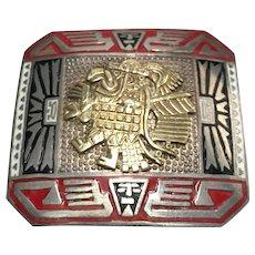 Peruvian Sterling Silver & 18 K Gold Inca God Enameled Pin