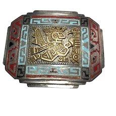 Peruvian Sterling Silver & 18 K Gold Inca Pin.