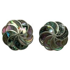Mexico Sterling Silver Abalone Screw Back Earrings