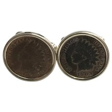 Vintage Sterling Silver Indian Head Penny Cuff Links