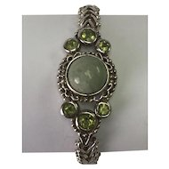 Sterling Silver Green Jasper & Peridot Toggle Bracelet