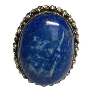 Vintage Sterling Silver Huge Blue Sodalite Ring