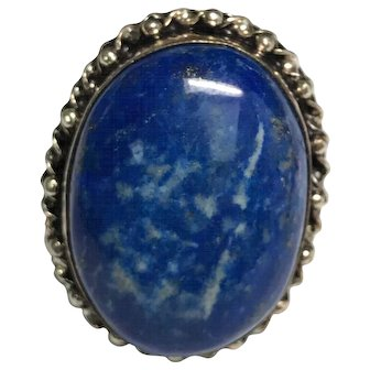 Vintage Sterling Silver Huge Blue Sodalite Ring