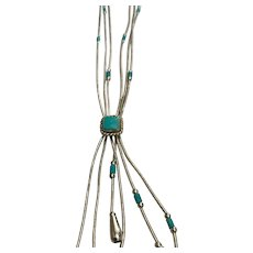 Native American Liquid Silver Turquoise Bolo Style Necklace