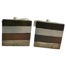 Vintage Sterling Silver/Mixed metals Mexico Cuff Links