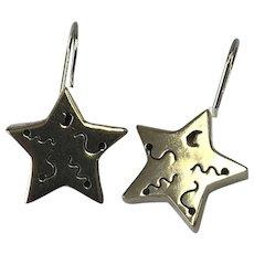 Mexico Sterling Silver Three Dimensional Pierced Drop Star Earrings