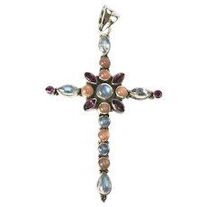 Sterling Silver Moon Stone & Garnet Large Cross ~ Nicky Butler