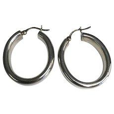 Sterling Silver 8 mm Wide Pierced Oval Hoop Earrings