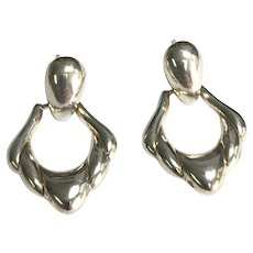 Vintage Sterling Silver Pierced Post Door Knocker Earrings