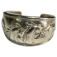 Vintage Sterling Silver Kabana Three Dimensional Horses Cuff Bracelet