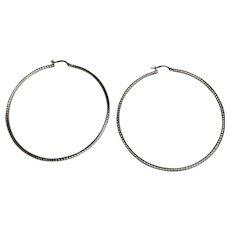 Sterling Silver Large Twisted Hoop Earrings