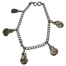 Vintage Sterling Silver Religious Medal Bracelet