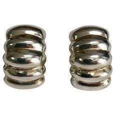 Sterling Silver Pierced Post Scalloped Drop Earrings