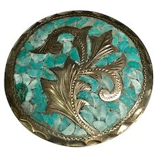 Vintage Mexico Sterling Silver Crushed Inlaid Turquoise Pendant/Pin ~ Signed