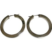 Sterling Silver 4 mm Wide Pierced Hoop Earrings