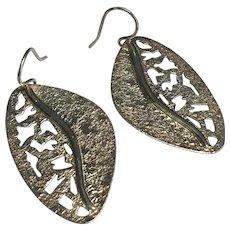 Sterling Silver Pierced Dangle Leaf Earrings