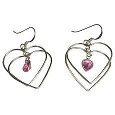Sterling Silver Pierced Dangle Double Heart Pink CZ Earrings