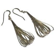 Vintage Liquid Sterling Silver 10 Strand Earrings Beaded Boho Dangles Long