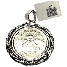 Sterling Silver Guardian Angel Large Pendant