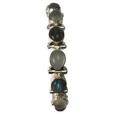 Sterling Silver Labradorite & Moonstone Bracelet