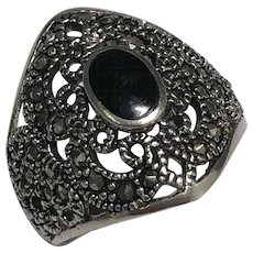 Sterling Silver Marcasite & Onyx Ring