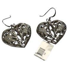 Sterling Silver Filigree Heart Pierced Dangle Earrings