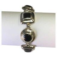 Sterling Silver Inlaid Onyx Mexico Bracelet