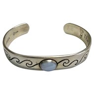 Vintage Sterling Silver Chalcedony Cuff