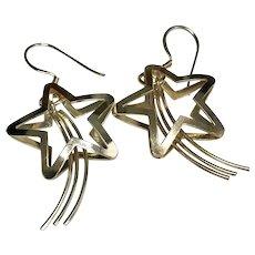 Sterling Silver 3 Dimensional Pierced Dangle Shooting Star Earrings