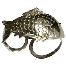 Vintage Sterling Silver Three Dimensional Fish Cuff