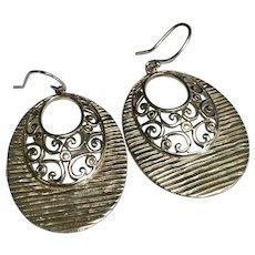 Sterling Silver Pierced Dandle Fancy Swirl Earrings