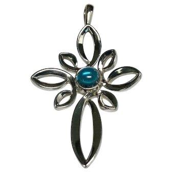 Vintage Sterling Silver James Avery Ornate Blue Glass Cross