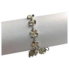 Sterling Silver Hibiscus Flower Link Bracelet