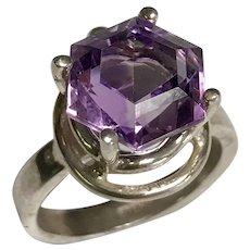 Sterling Silver 3.30 Carat Octagon Amethyst Ring