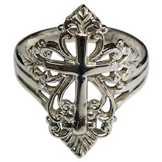 Sterling Silver Religious Cross Ring
