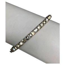 Art Deco Sterling Silver Rhinestone Paste Hinged Bangle Bracelet