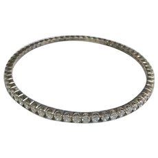 Sterling Silver Simulated Diamond Bangle Bracelet