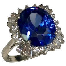 Sterling Silver 3.80 Carat Simulated Oval Sapphire & Baguette And Round Diamond Ring