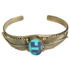 Sterling Silver Native American Turquoise/Lapis Cuff