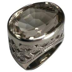 Sterling Silver 13.00 Carat Smoky Quartz Ring